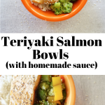 White rice, a big piece of pink salmon, broccoli and bell peppers sit in an orange bowl. Two chop sticks, are crossed over each other are next to the bowl.